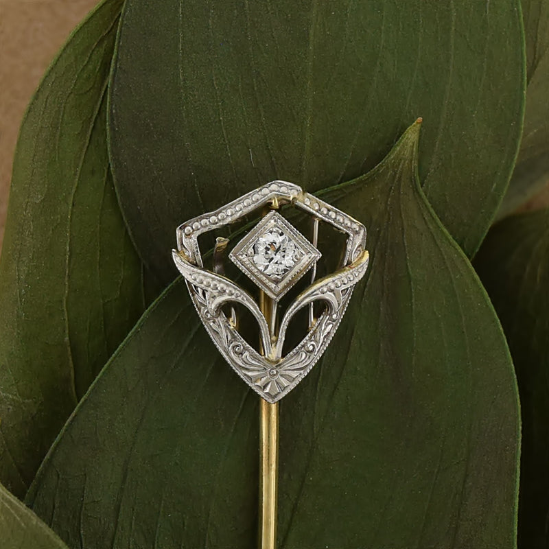 14k White & Yellow Gold Antique Ornate Diamond Stick Pin