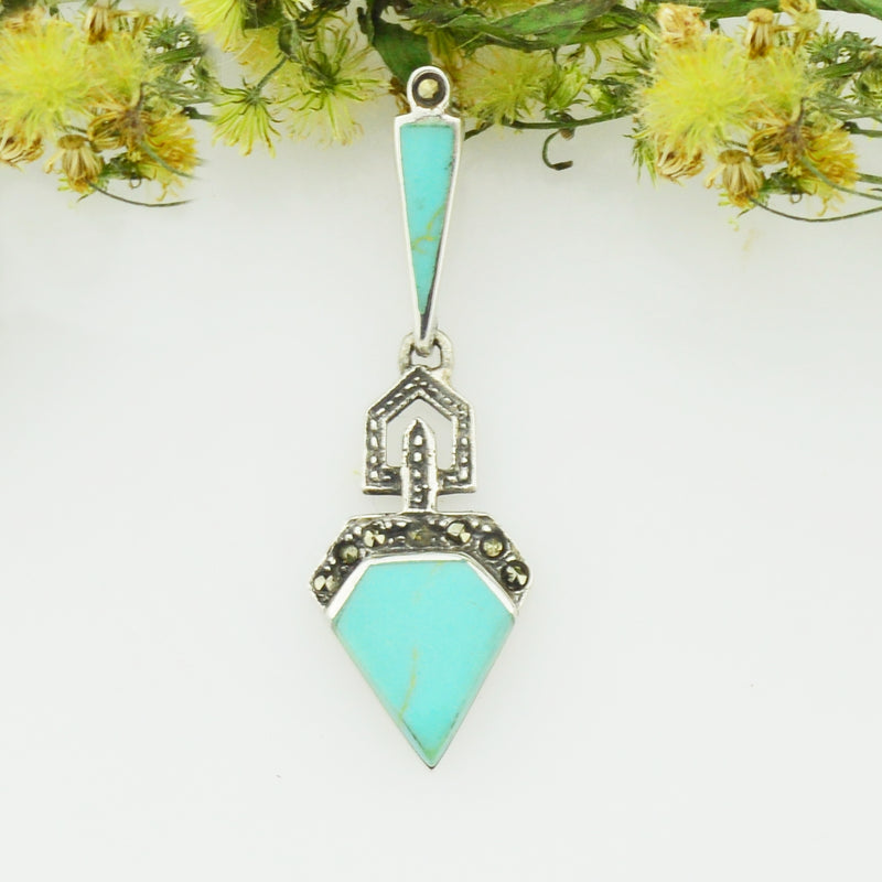 NEW Sterling Silver 925 Art Deco Style Marcasite & Turquoise Pendant