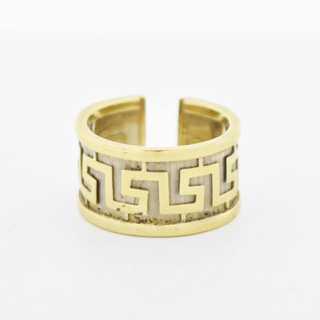 14k Yellow & White Gold Wide Carved Greek Key Design Ring Size 9