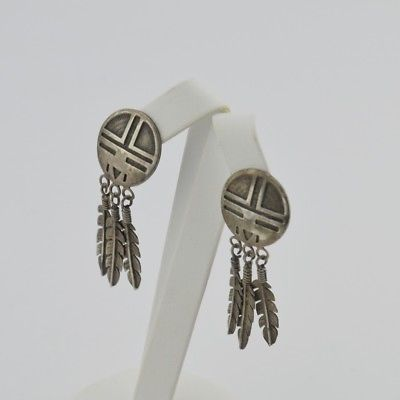 Sterling Silver 925 Vintage Native American Style Dangle/Drop Earrings