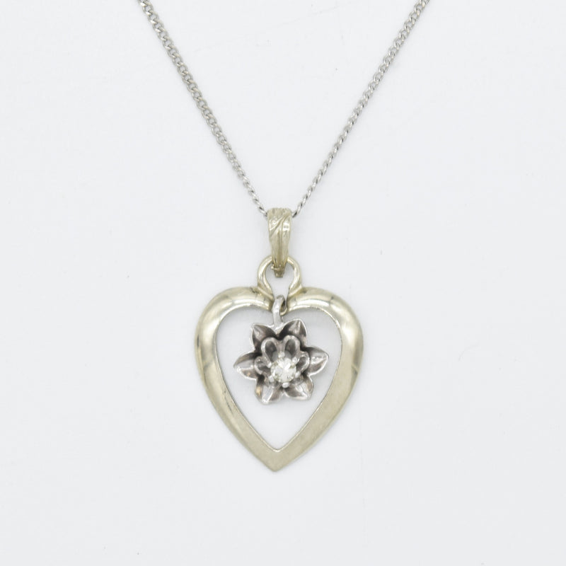 "14k White Gold 15.25"" Curb Link Swing Diamond Heart Pendant Necklace"
