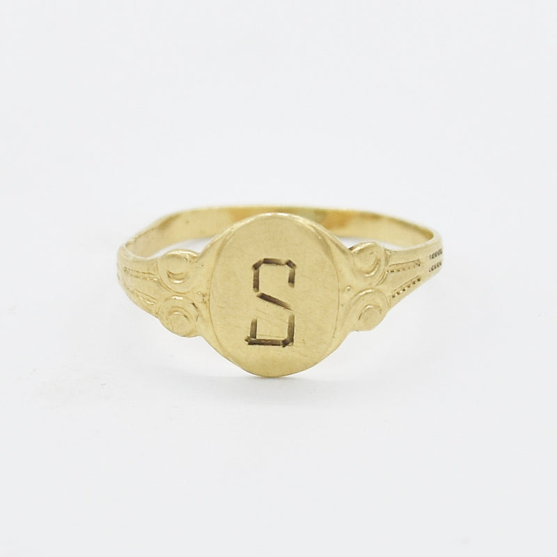 10k Yellow Gold Antique Initial S Pinky Ring Size 3