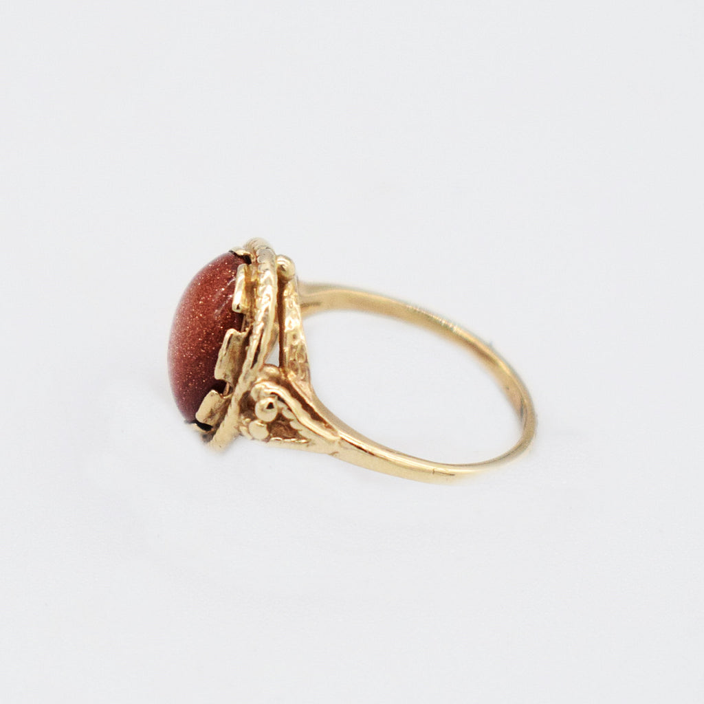 10k Yellow Gold Estate Textured Cabochon Gold Stone Ring Size 3.75
