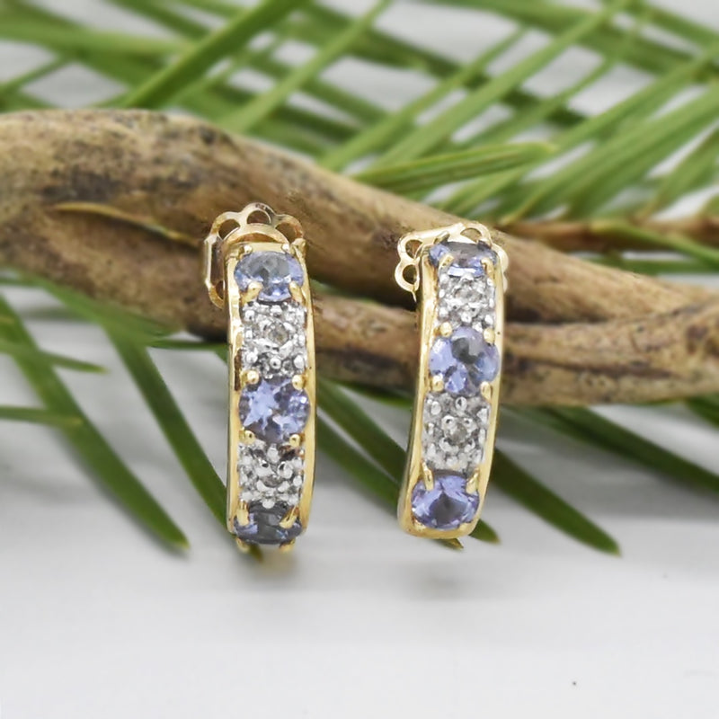 10k Yellow Gold Estate Tanzanite & Diamond 1/2 Hoop Post Earrings