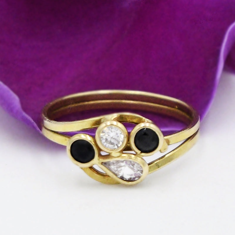 18k Yellow Gold Double Band White Gemstone & Sapphire Ring Size 6.25