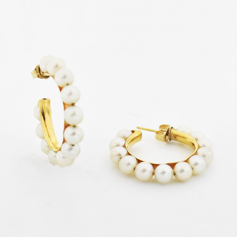 "14k Yellow Gold Estate 1"" Multi Pearl Hoop Earrings"