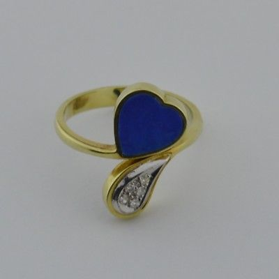 14k Yellow Gold Diamond Teardrop/Tear Drop & Heart Shaped Lapis Ring Size 7.25