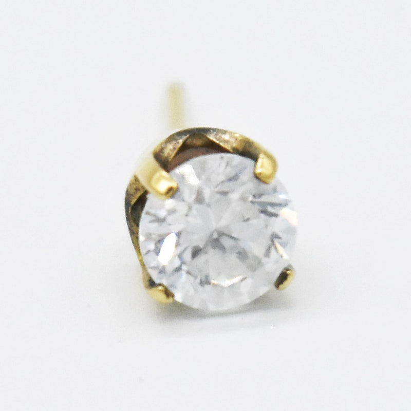 14k Yellow Gold Estate White Gemstone Stud Single Earring