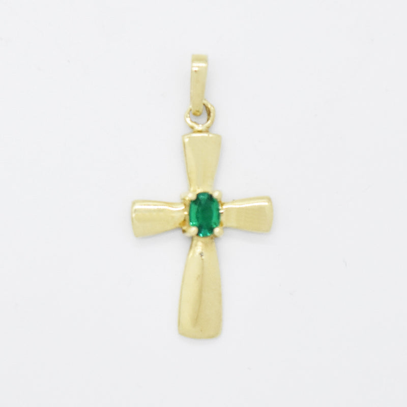 10k Yellow Gold Estate Emerald Cross Pendant