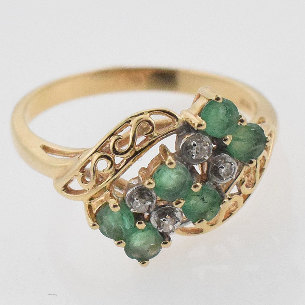14k Yellow Gold Open Work Emerald & Diamond Ring Size 8