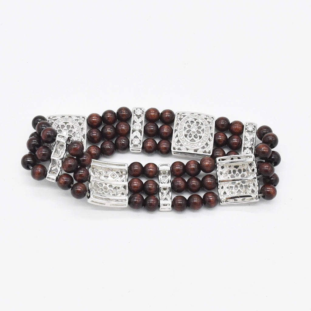 Sterling Silver 925 Estate Esposito Diamonique Bead/Ball Bracelet
