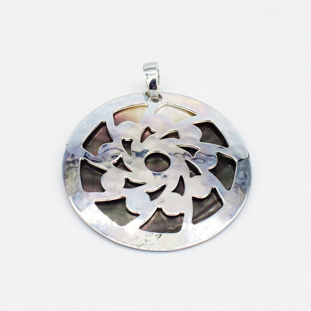 NEW S.S 925 RLM Studio Mother of Pearl Circle/Disc Pendant