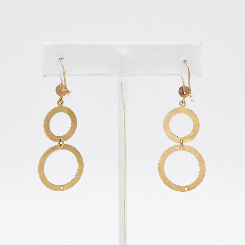 14k Rose Gold Estate Textured Double Circle Drop/Dangle Earrings