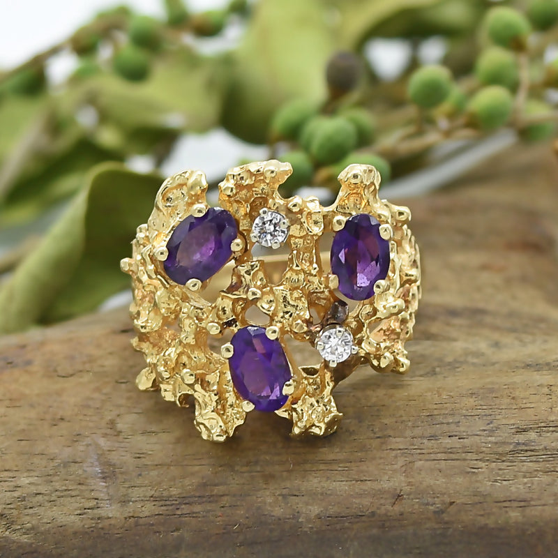 14k YG Coral Reef/Abstract Amethyst & Diamond Ring Size 9