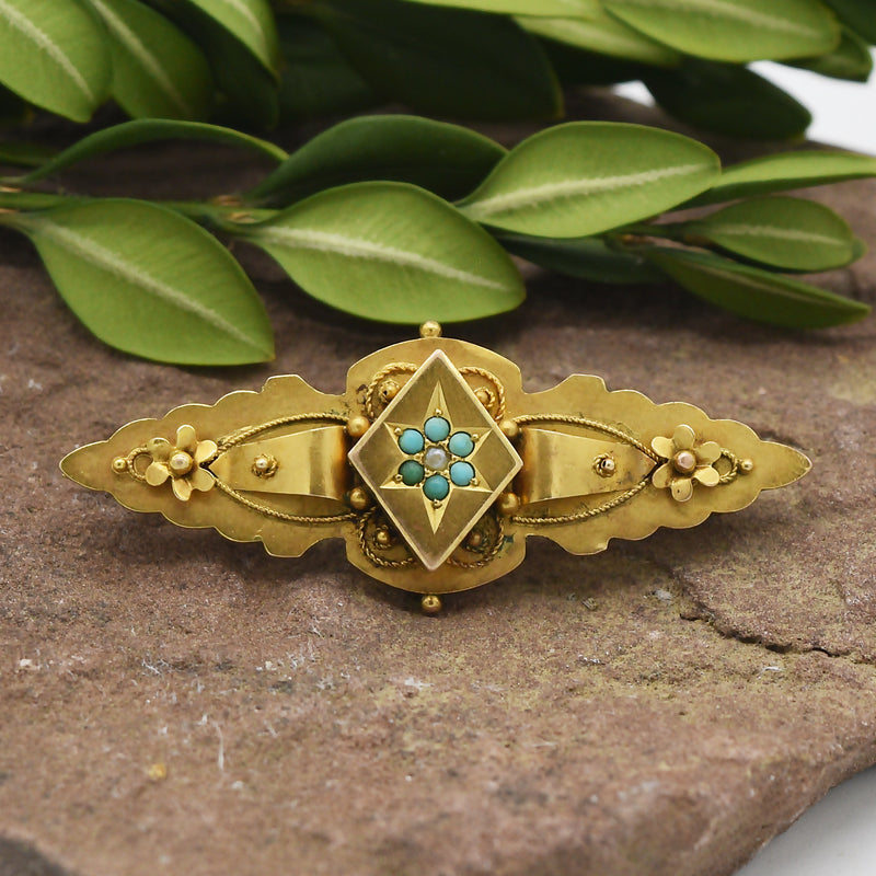 9ct Yellow Gold Antique Ornate Turquoise & Pearl Pin