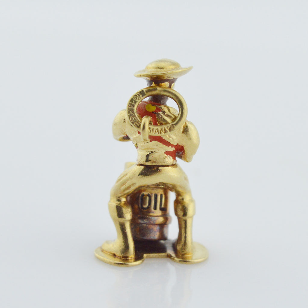 14k Yellow Gold Vintage Western Man Warming At Oil Barrel Survival Pendant/Charm
