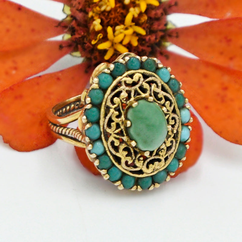 14k Yellow Gold Vintage Ornate Multi Colored Turquoise Ring Size 5.75