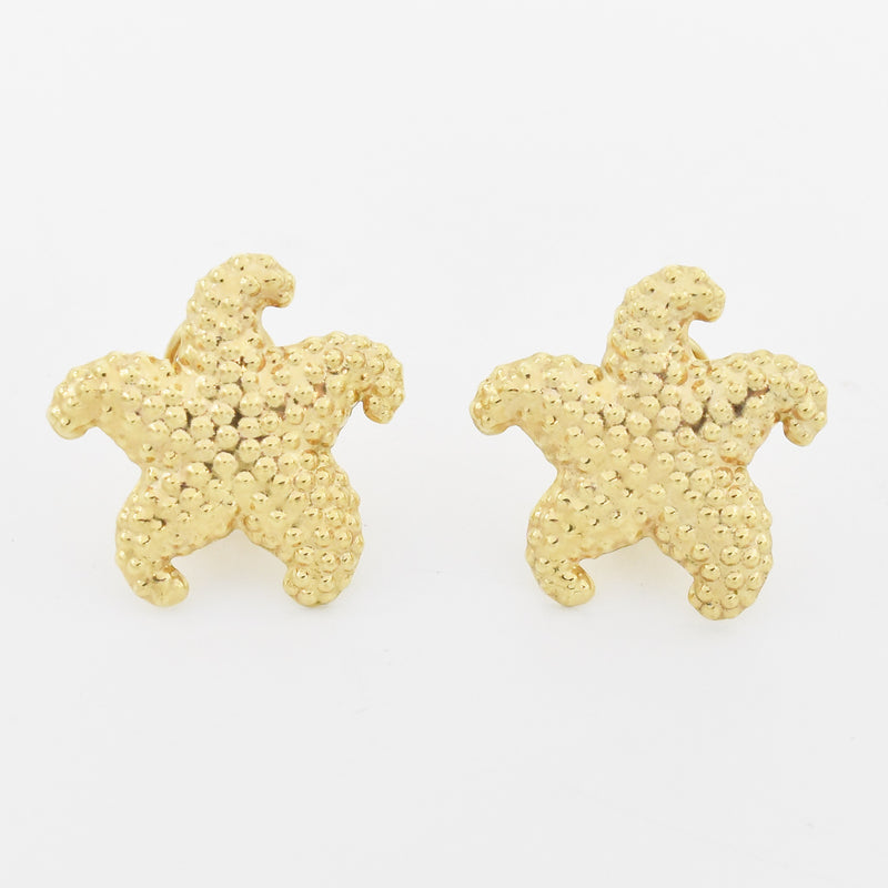 14k Yellow Gold Estate Textured Starfish Omega Back Earrings