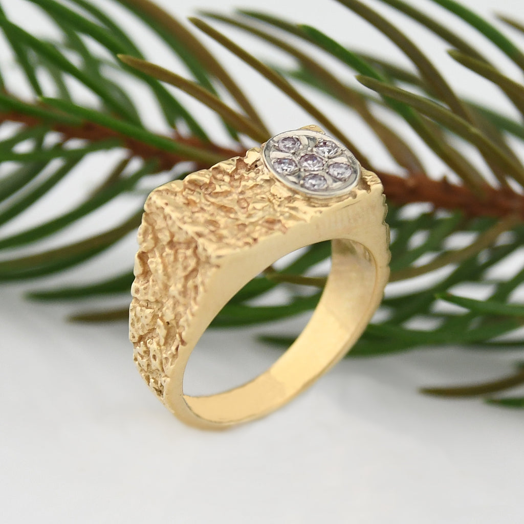 14k Yellow Gold Estate Diamond Nugget Ring Size 9