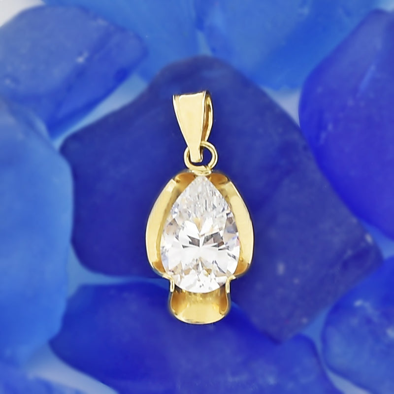 14k Yellow Gold Estate Swirl Teardrop CZ Pendant