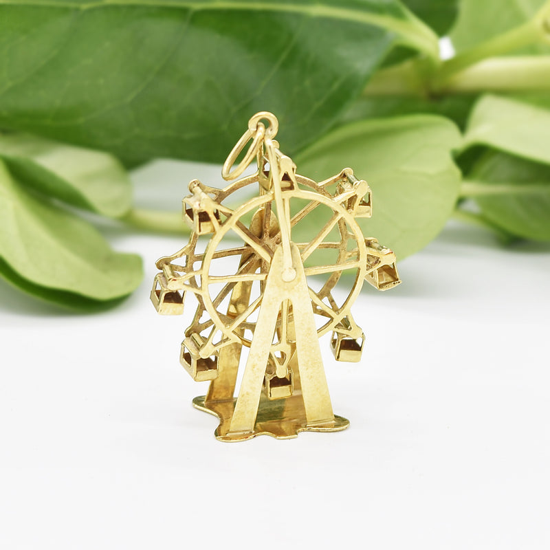 14k Yellow Gold Estate Articulated Ferris Wheel Pendant/Charm