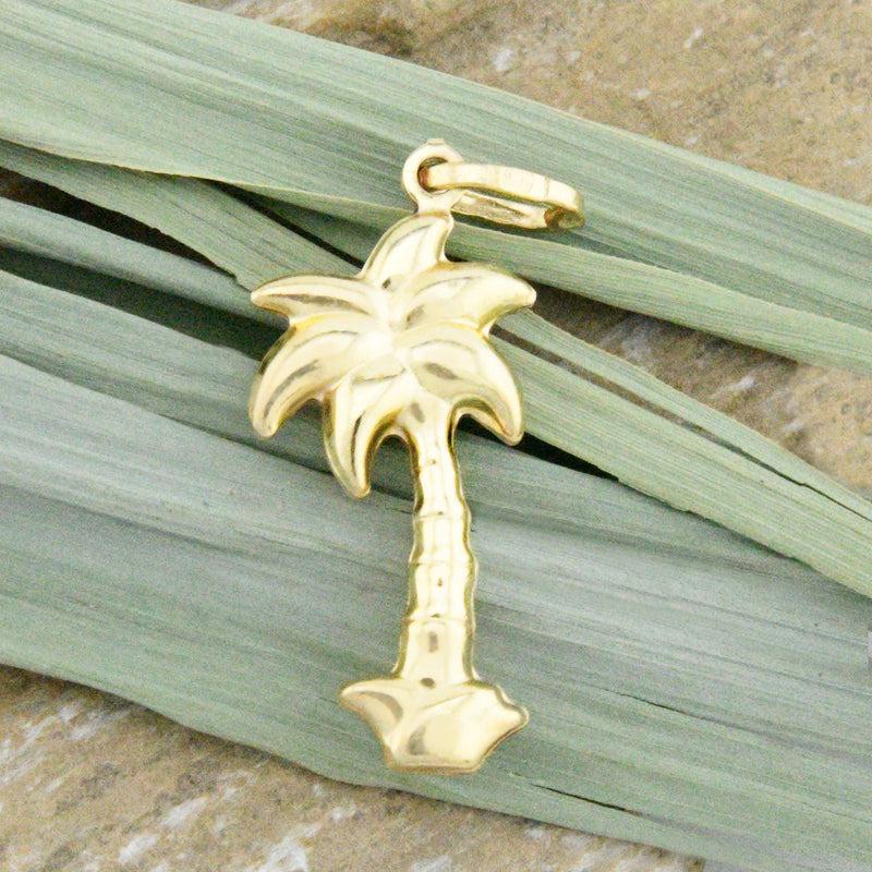 14k Yellow Gold Estate 3D Palm Tree Pendant