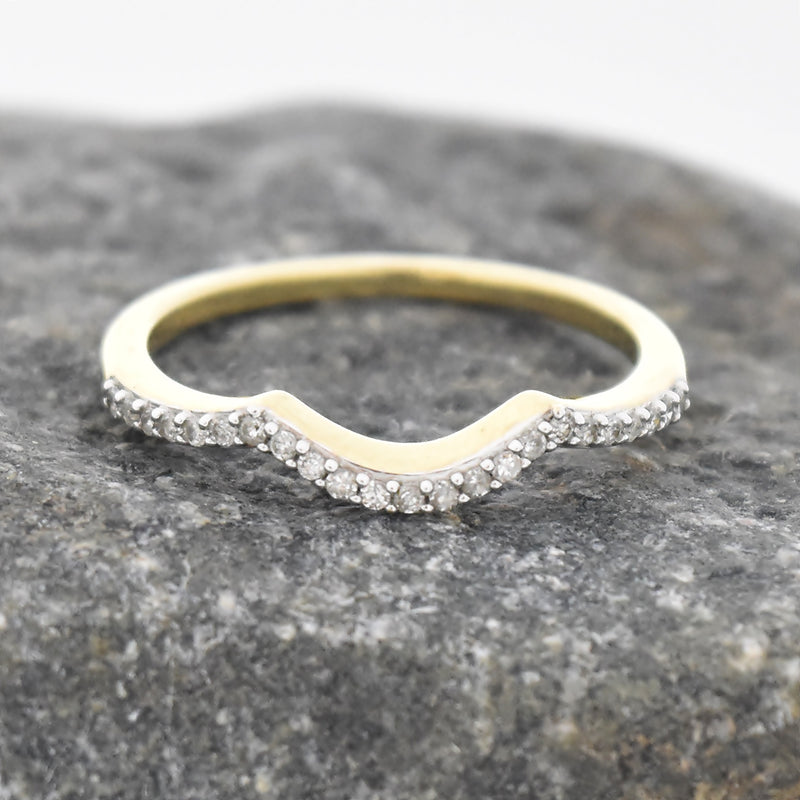 10k Yellow Gold Estate Diamond Wedding Band/Ring Size 7