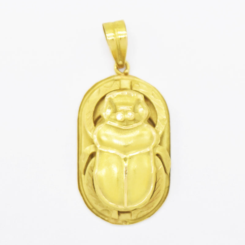 18k Yellow Gold Estate Carved Scarab/Beetle Drop/Dangle Pendant