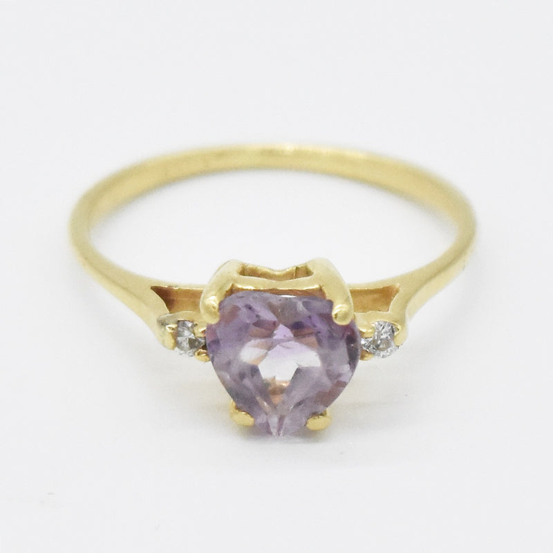14k Yellow Gold Estate Heart Shape Amethyst & Diamond Ring Size 4.5