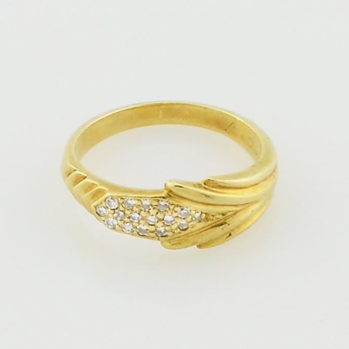 10k Yellow Gold Estate Textured Diamond Ring Size 8