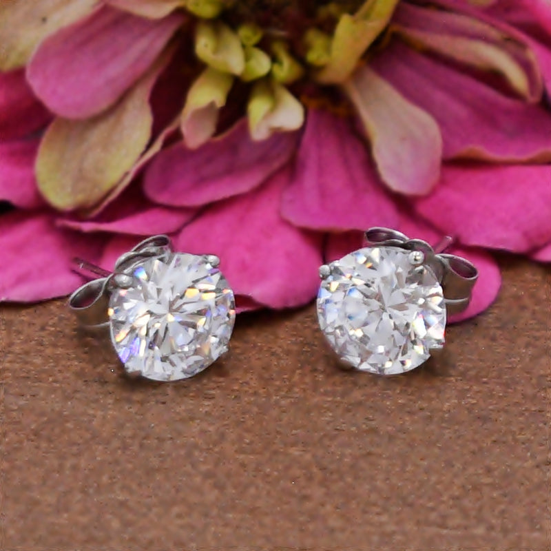 14k White Gold Estate Swarovski CZ Gemstone Post Earrings