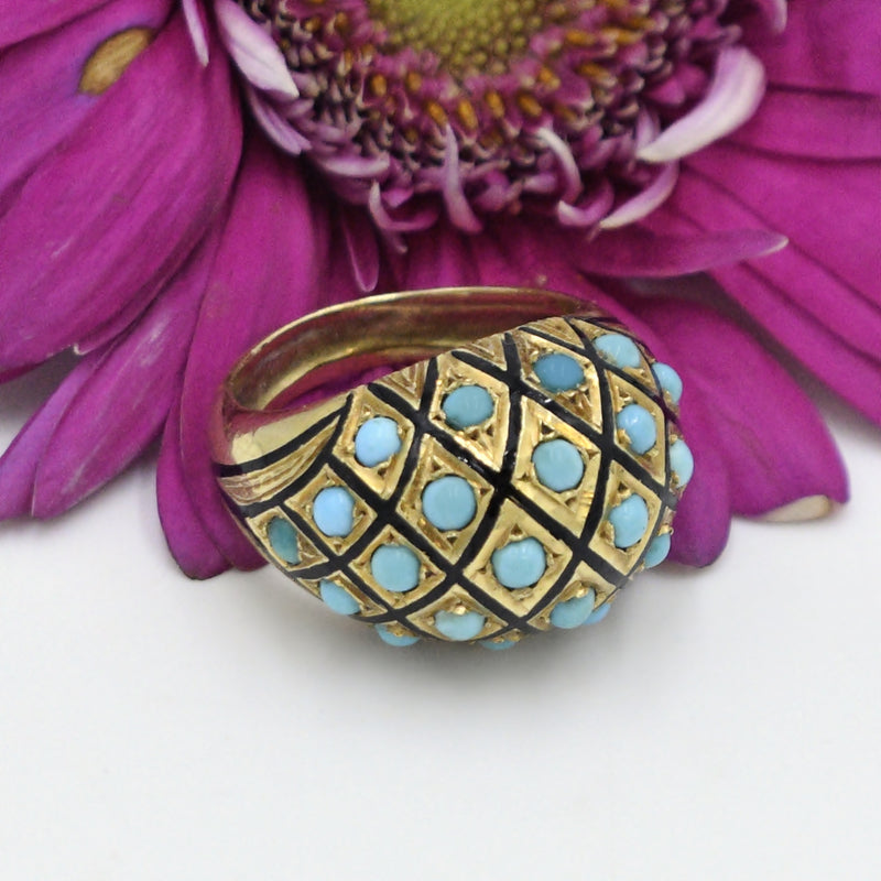 18k Yellow Gold Ornate Wide Enamel Turquoise Band/Ring Size 7.25