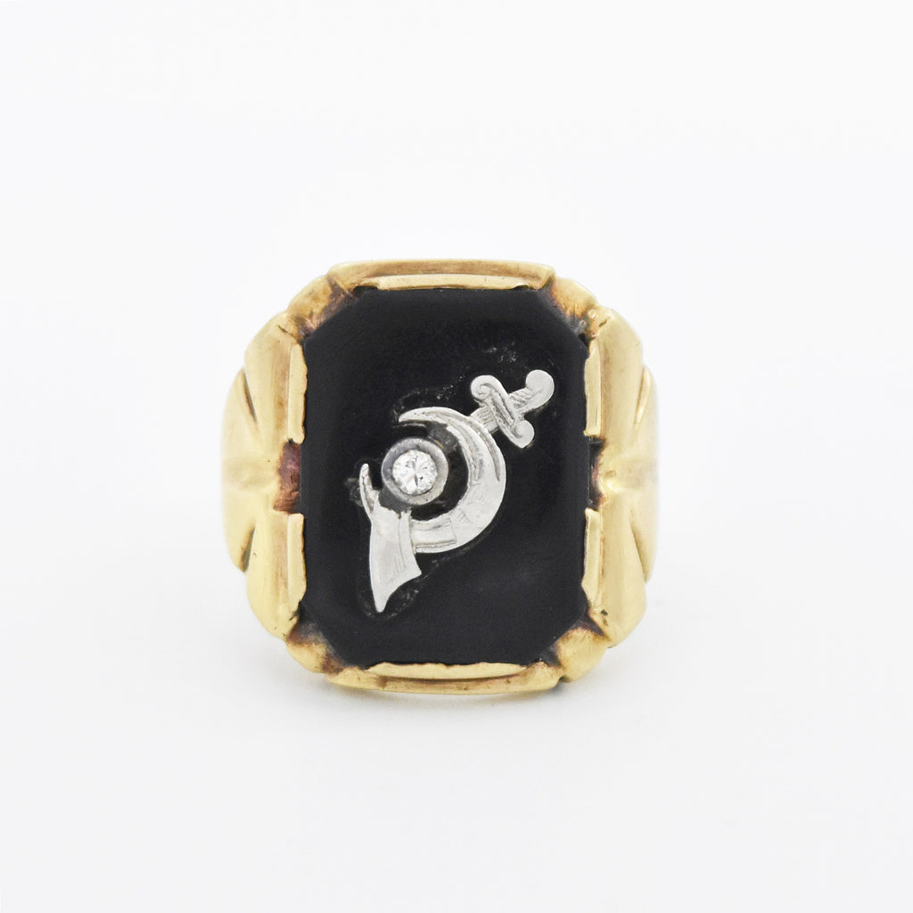 10k Yellow White Gold Antique Black Onyx Diamond Shriner's Ring Size 10