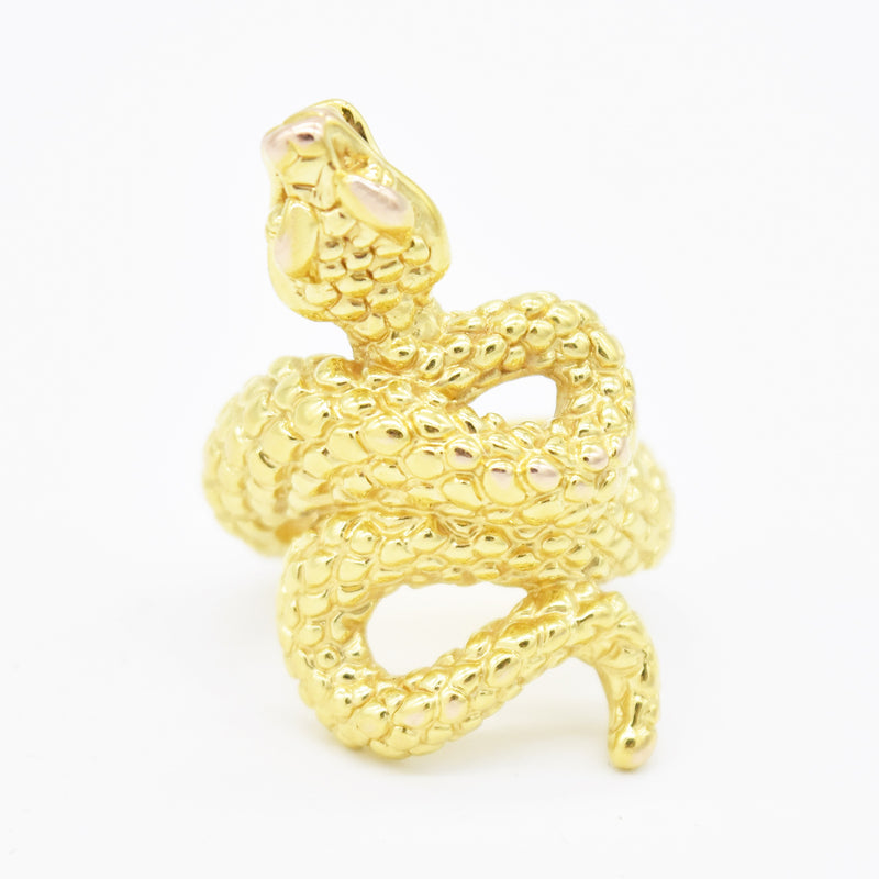 14k Yellow Gold Estate Textured Coiled Snake Animal Ring Size 8