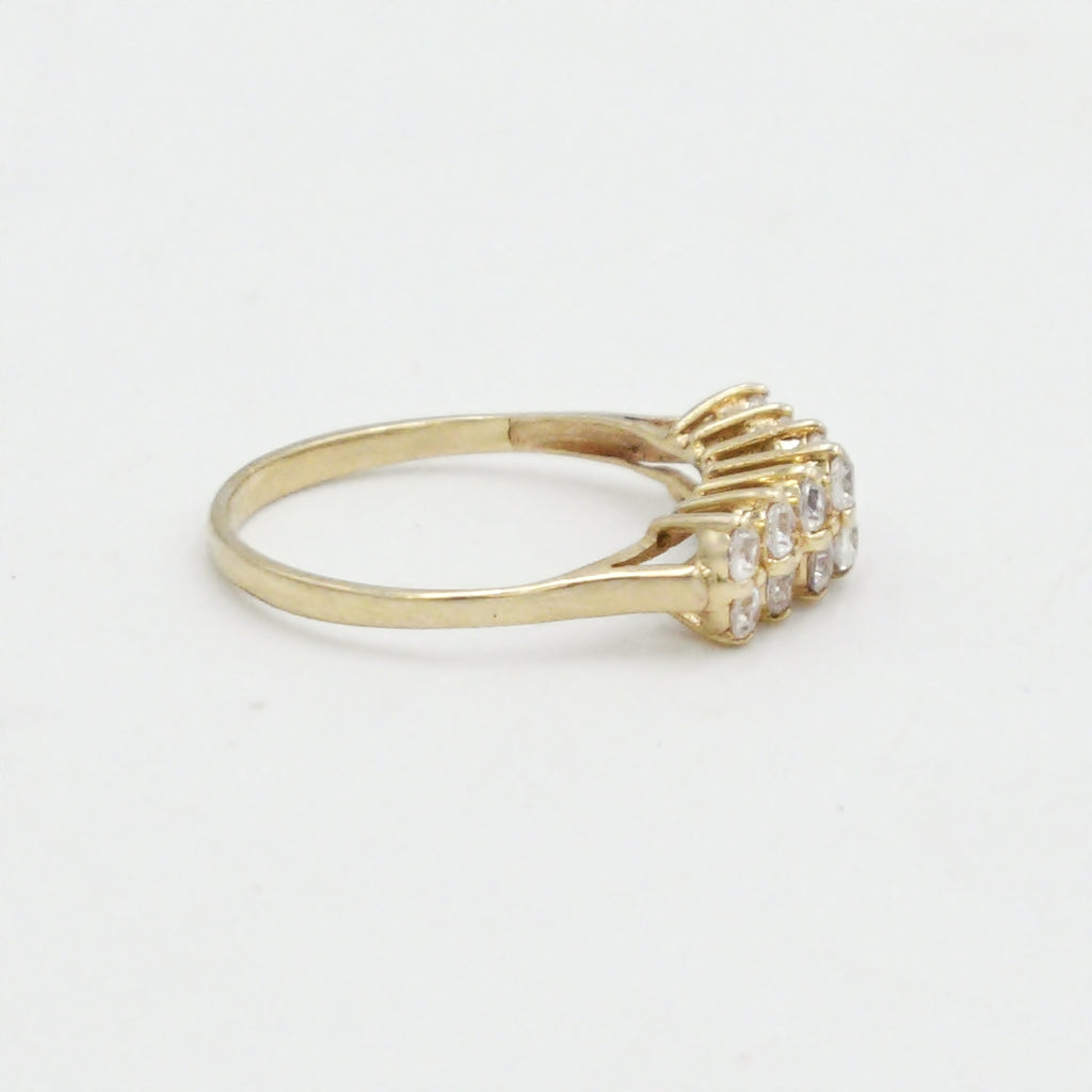 14k Yellow Gold Estate Double Row CZ Wedding Band/Ring Size 10.25