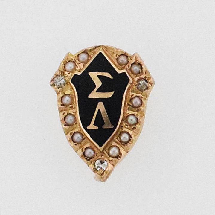 14k YG Antique Enamel Diamond 0.03 tcw Pearl Frat Pin