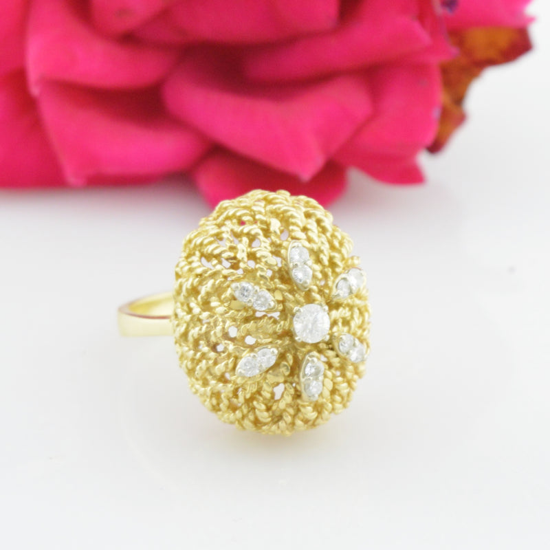 14k Yellow Gold Estate Diamond Textured Ring Size 7