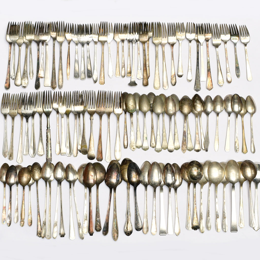 100 Pce Vntg Silver Plate Arts & Crafts Spoons And Forks Flatware Lot