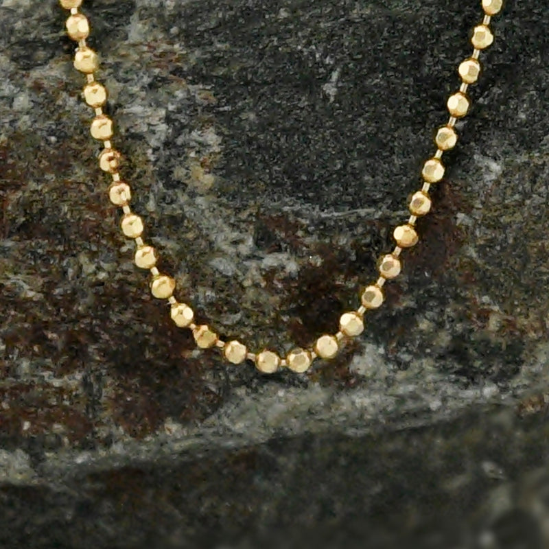 "14k Yellow Gold Estate Ball/Bead Chain/Necklace 18"" Long"