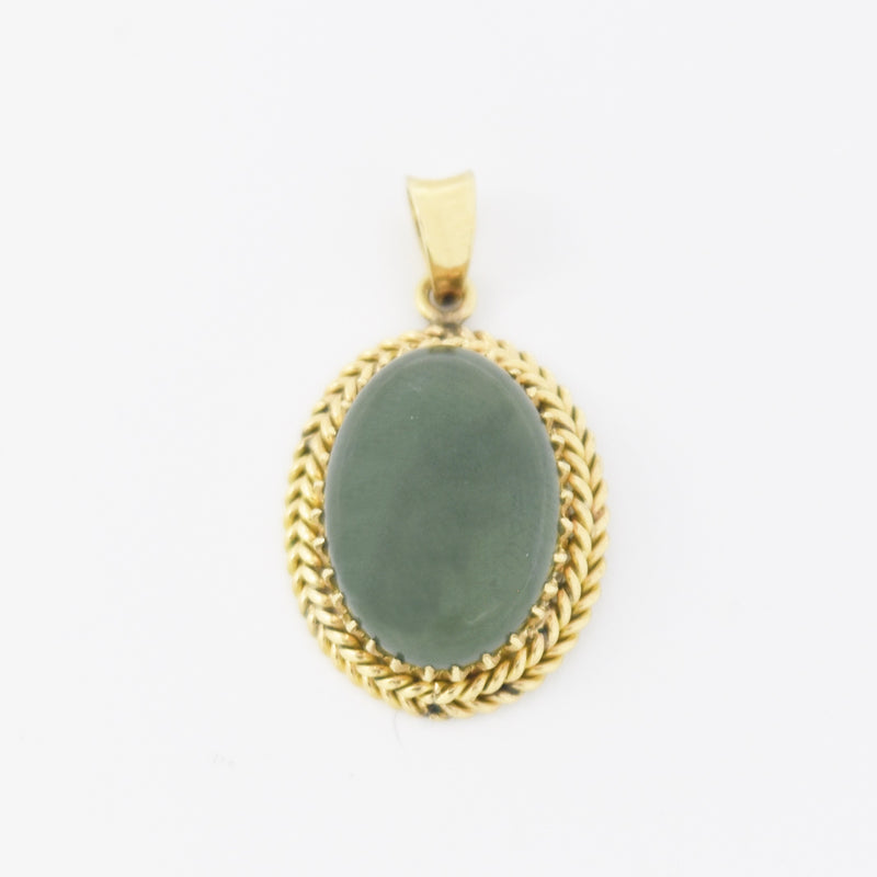10k Yellow Gold Estate Rope Style Oval Jade Drop/Dangle Pendant