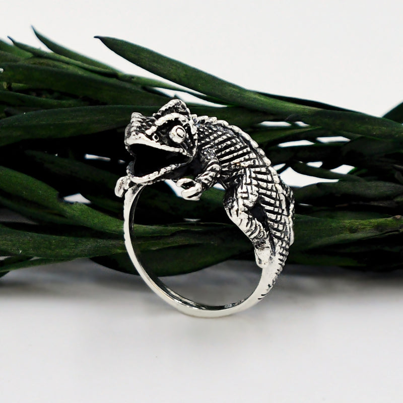 New Sterling Silver 925 Perched Chameleon/Lizard Reptile Animal Ring
