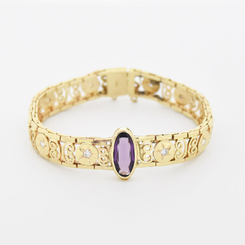 "14k Yellow Gold Ornate 6 1/4"" Filigree Diamond & Amethyst Bracelet"
