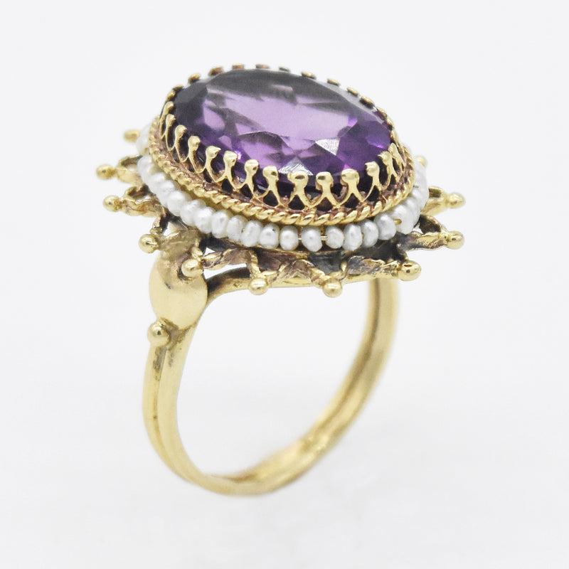 14k Yellow Gold Fancy Oval Amethyst & Seed Pearl Ring Size 8.25