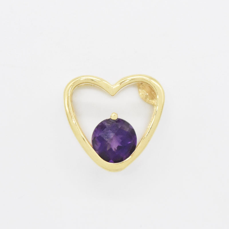 14k Yellow Gold Estate Open Heart Amethyst Pendant