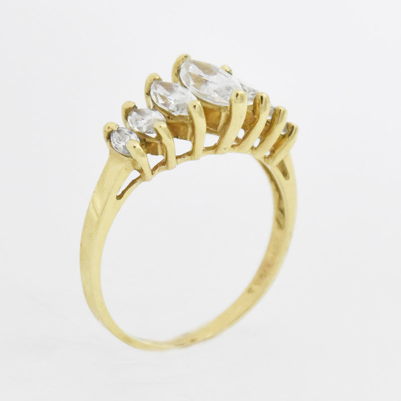 10k Yellow Gold Estate White Quartz Tier Ring Size 7.25