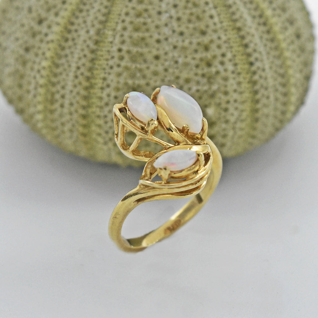 10k Yellow Gold Vintage Triple Fire Opal Cocktail Ring Size 5.25