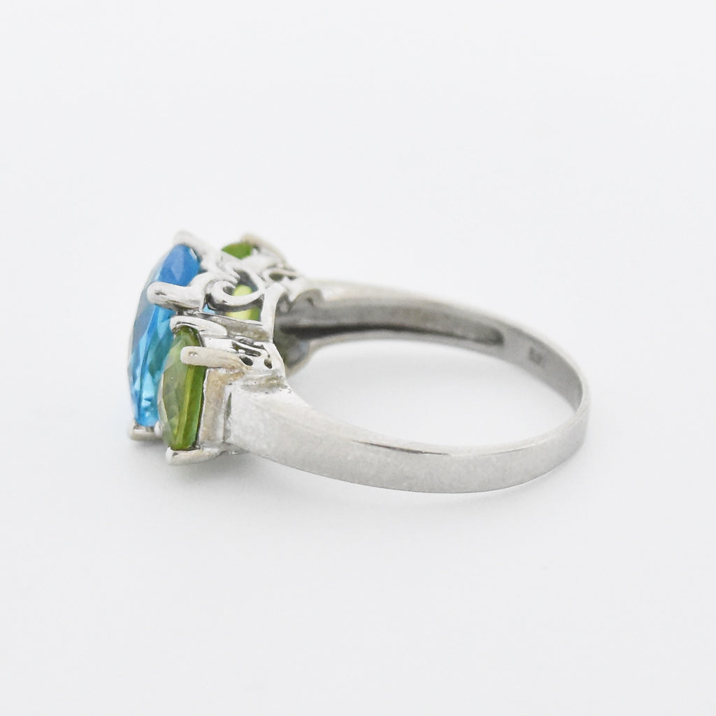 14k White Gold Cushion Cut Blue Topaz & Peridot Tier Ring Size 7.75