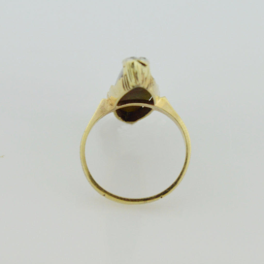 10k YG Mid Centrury Modern Elongated Cut Tigers Eye & Diamond Ring Size 4.5