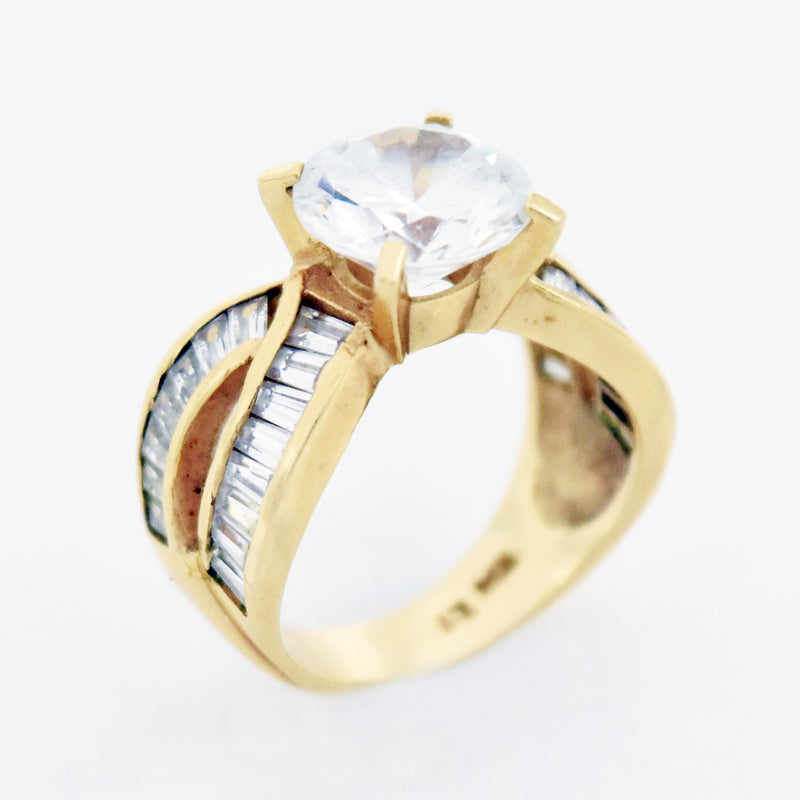 14k Yellow Gold Estate Fancy White Gemstone Cocktail Ring Size 6.75