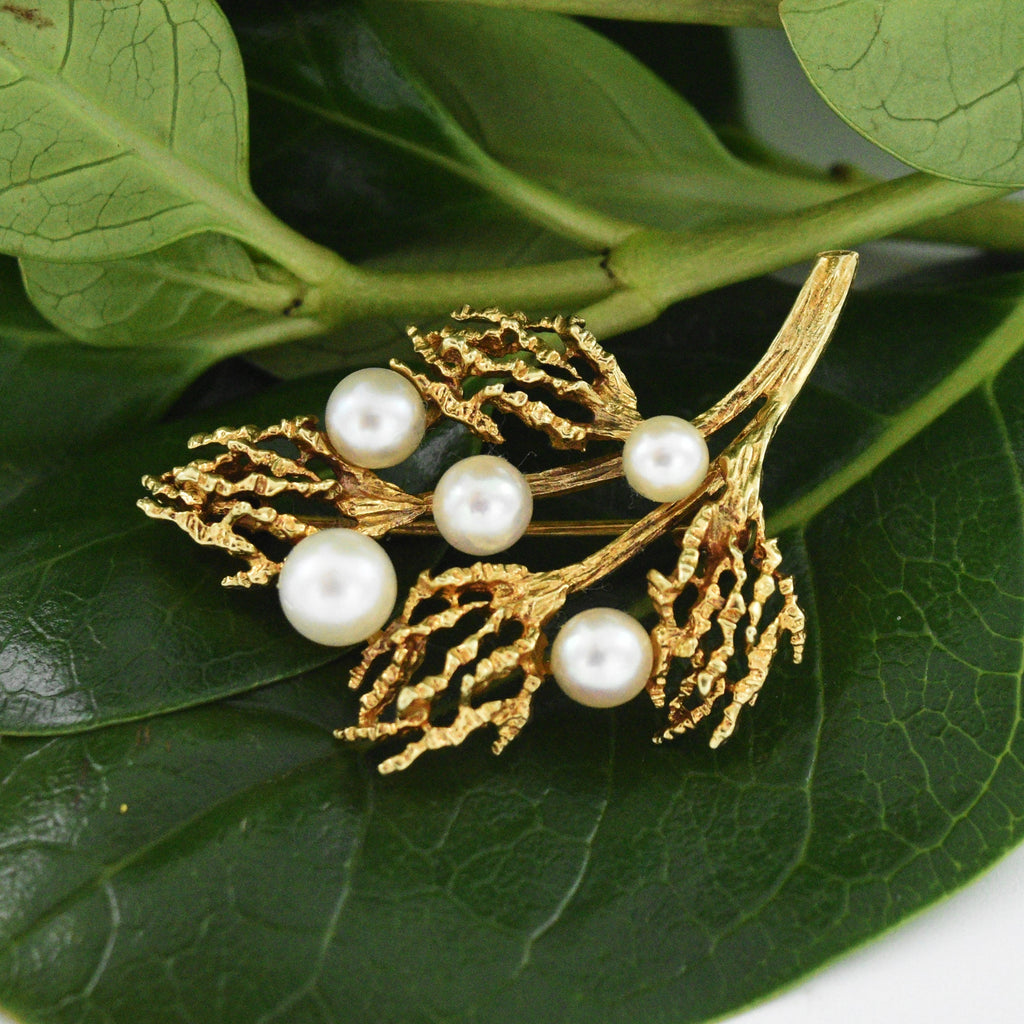14k Yellow Gold Estate Pearl Open Branch Pin/Brooch